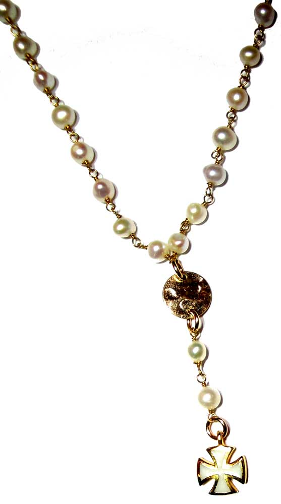 Rosary Style Fresh Water Pearl Wire Wrapped Necklace With A Gold ...